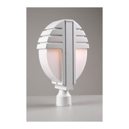 """PLC Lighting - Synchro 18"""" x 11""""  Post Lantern - Features: -Two light post lantern. -Synchro collection. -Available in architectural bronze, architectural silver or white finish. -Die cast aluminum construction. -Opal acrylic glass. -Suitable for wet location. Specifications: -Accommodates (2) 60W A19 bulb (not included). -Overall dimensions: 18"""" H x 11"""" W."""