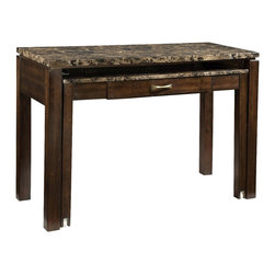Standard Furniture - Standard Furniture Bella 48 Inch Desk Entertainment in Deep Brown - Quality veneers over wood products and select solids used throughout. Group may contain some plastic parts. Bar pulls in brushed nickel color finish. Deep brown color finish with faux marble travertine color tops. Surfaces clean easily with a soft cloth.