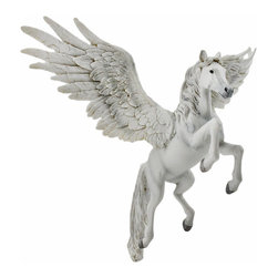 Flying White Pegasus Hanging Statue - Pegasus is one of the best known mythological creatures in Greek mythology- he is a winged divine horse, usually described as white in color. This beautiful hanging statue or ornament is a wonderful addition to any home! Made of cold cast resin, it measures 7 1/2 inches long, 6 1/2 inches tall, 8 1/2 inches wide and hangs from a decorative gold hanger. It is nicely detailed, and is sure to be admired.