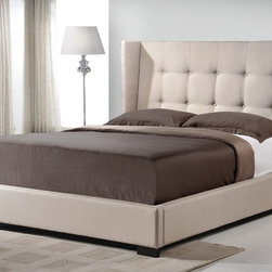 "Baxton Studio - Baxton Studio Favela Beige Linen Modern Bed with Upholstered Headboard - King Si - Wooden and metal bed frames are things of the past ��� update your bedroom with the stylish,ela Upholstered Bed. The king-sized headboard, slats, and footboard are foam-padded, button-tufted, and upholstered in a beautiful, versatile light beige linen blend. Made in Malaysia with a wooden frame and black wood feet, sound construction is not left by the wayside.  The Favela is a platform bed, so does not require a box spring: wooden slats (included) serve the same purpose. Only a mattress and bed linens (not included) are required. In the event cleaning is necessary, spot cleaning is advised. 83.5""W x 91""D x 52.75""H , footboard height: 12.5"", side rail: 12.5"", height to top of slat: 11"", height of legs: 2.5"""