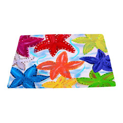 xmarc - Sea Life Area Rugs From My Art, Starfish Party - Starfish party area plush area rugs from original art. Tropical fish, octopus, jellyfish, blue crabs and more.