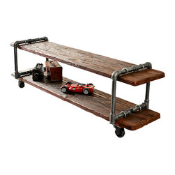 Anton Maka Designs - Woodiron TV Stand - This TV stand is made from salvaged metal pipe and wood. It is strong enough to support even large televisions, and heavy-duty casters make moving it easy.