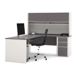 Bestar - Bestar Connexion Slate & Sandstone 71 x 83 L-Shaped Workstation Desk - The desk is made of durable 1 inch commercial grade work surface with melamine finish that resist scratches stains and wears. It features an impact resistant 0.25 cm PVC edge. Grommets and a rubber strip are available on the station for efficient wire management. The credenza the return table and the hutch meet or exceed ANSI/BIFMA performance standards. The hutch for credenza offers two flip up doors large closed storage space efficient wire management and two large paper shelves. The doors are fitted with strong lift up hardware. The pedestal offers two utility drawers and one file drawer with letter/legal filing system. One lock secures bottom two drawers. The drawers are on ball-bearing slides and the keyboard drawer features double-extension slides for a smooth and quiet operation. The station is fully reversible. Also available in Bordeaux and Slate finish. Connexion is a contemporary and durable collection that features a wide variety of configuration options that will adapt to your specific needs.Nowadays performance productivity and quality of life are fundamental to achieving our personal and professional goals. Bestar's home and office furniture design is based upon these criteria as well as on today's reality. On average we spend about 40 hours a week at work (home or office) which represents a large portion of our time. Various factors have a direct impact on our well-being at work: an important concern in the current employment environment continually changing and at an ever-increasing pace. Therefore organizing your space is certainly a parameter to consider. Features include Strong and large work surface Plenty of room to organize your documents Storage space for your documents and personal items. Specifications Finish/color: Slate & Sandstone.
