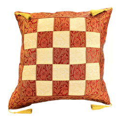 "Banarsi Designs - Game of Chess Pillow Cover, Set of 2, Creamy Wine - India is portrayed by its radiant and preposterous colors, designs, styles, and appealing textiles. One of Banarsi's intriguing designs is what we call the ""Game of Chess Pillow Cover"" which exhibits the Middle Eastern ambiance in its splendorous plait pattern that intertwines two exotic tones, transforming it into a chess inspired pattern."