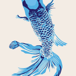 "Emma at Home - Wholefish Print, Rice, 20"" x 30"" - This is a nice modern take on a classic Asian design. The colors feel fresh and contemporary but not over the top. It would look elegant matted and framed in a dining room."