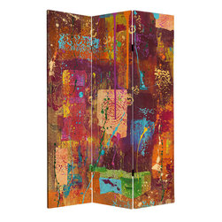 Oriental Furniture - 6 ft. Tall India Double Sided Canvas Room Divider - Celebrate the Festival of Colors all year long with this India-inspired canvas room divider. Exclusively reprinted on art-quality canvas from the original collage, this vibrant design will add an energetic, eclectic touch to any room.