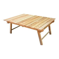 """Blue Ridge Chair Works - Carolina Packable Snack Picnic Table - Features: -Legs fold flat, so table is easy to transport and takes very little room to store.-Legs also lock securely, both open and closed, with simple locking pin.-Table pairs well with lower chairs or perfect by itself on picnic blanket.-Stainless steel hardware.-Made in the USA.-Ash wood construction.-Solid Wood Construction: Yes.-Finish: Clear natural.-Gloss Finish: No.-Powder Coated Finish: No.-Weather Resistant or Weatherproof: Weather resistant finish.-Water Resistant or Waterproof: Coating repels water.-UV Resistant: Yes.-Mildew Resistant: Yes.-Rust Resistant: Yes.-Glass Top: No.-Tempered Glass: No.-Umbrella Hole: No.-Extendable: No.-Table Leaf Storage: No.-Under Table Storage Space: No.-Adjustable Levelers: No.-Stacking: Yes.-Fade Resistant: No.-Firepit Available: No.-Lazy Susan Included: No.-Firepit to Cooler Option: No.-Cooler Insert Included: No.-Seating Capacity: Seats 2.-Table Weight Capacity: 200 lbs.-Commercial Use: Yes.-Distressed: No.-Collection: Blue Ridge Chair Works.-Eco-Friendly: Yes.-Product Care: Wash with mild soap and water, rinse, air dry.-Hardware Material: Stainless steel.-Recycled Content: No.Specifications: -FSC Certified Wood: No.-Greenguard Certified: No.Dimensions: -10"""" H x 27.5"""" W x 21"""" D.-Overall Width - Side to Side When Extended: 27.5"""".-Leg Height: 10"""".-Folded Table Height: 2"""".-Folded Table Width - Side to Side: 27.5"""".-Overall Product Weight: 8 lbs.Assembly: -Assembly Required: No.-Additional Parts Required: No.Warranty: -Product Warranty: One year free of defects in material and workmanship."""