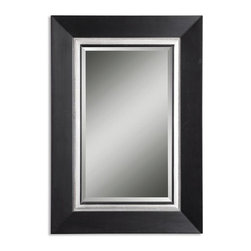 Uttermost - Uttermost Whitmore Vanity Mirror - This wood frame has a matte black finish with a silver leaf inner liner and a gray glaze. Mirror is beveled.