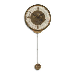Uttermost - Uttermost Leonardo Chronograph Cream Traditional Wall Clock X-40060 - Weathered laminated clock face with a cast brass outer rim, brass center components and long working pendulum. Requires 1-AA and 1-D Battery.
