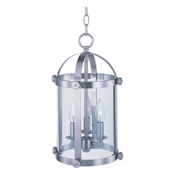 Joshua Marshal - Three Light Satin Nickel Clear Glass Foyer Hall Pendant - Three Light Satin Nickel Clear Glass Foyer Hall Pendant