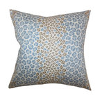 """The Pillow Collection - Mailys Animal Print Pillow Blue Brown - Give your living space an eclectic touch with this striking throw pillow. Decorated with an animal print pattern in shades of blue and brown, this 18"""" pillow is a gorgeous addition to your home. Combine with solids or mix with other interesting patterns from our wide selection of indoor pillows. Made of 100% durable and plush cotton material. Hidden zipper closure for easy cover removal.  Knife edge finish on all four sides.  Reversible pillow with the same fabric on the back side.  Spot cleaning suggested."""