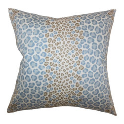 "The Pillow Collection - Mailys Animal Print Pillow Blue Brown 18"" x 18"" - Give your living space an eclectic touch with this striking throw pillow. Decorated with an animal print pattern in shades of blue and brown, this 18"" pillow is a gorgeous addition to your home. Combine with solids or mix with other interesting patterns from our wide selection of indoor pillows. Made of 100% durable and plush cotton material. Hidden zipper closure for easy cover removal.  Knife edge finish on all four sides.  Reversible pillow with the same fabric on the back side.  Spot cleaning suggested."