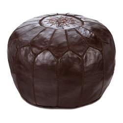 Leather Moroccan Pouf, Chocolate - Handcrafted in Marrakch, this Moroccan ottoman pouf is a simple but oh so luxurious home accessory. Individual pieces of leather are dyed, then stitched together and embroidered by hand.