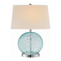 TwentyOne7 - Eve Table Lamp - Do you dream of living in a seaside cottage with blue and white striped furniture, whitewashed hardwood floors and sisal rugs? Put a little of that beach feeling into your home with this ocean blue glass lamp with chrome base. The plus? No sand to sweep up.
