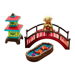Miniature Fairy Garden Miniature Fairy Garden Kit - Happy Life - This gift-boxed kit includes a mini pagoda, koi pond, red bridge and buddha. Each kit box includes a card explaining how to plant a mini garden.