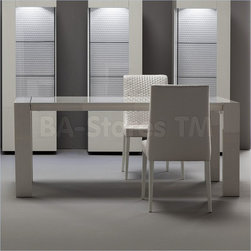 Domino White Maple Rectangular Dining Table with Extensions -