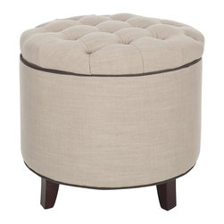 Safavieh - Amelia Tufted Storage Ottoman - True Taupe - The essential storage ottoman, Amelia is transitional in design with button tufted quilted top and oak legs in cherry mahogany finish. Practical and fashion right, the true taupe fabric is linen polyester with dark brown welting and buttons.