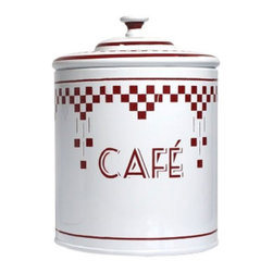 Diner Coffee Canister - Let's face it, coffee packaging is far from stylish and looks like clutter when left out. With this retro-inspired coffee container, though, you can feel comfortable leaving your favorite brew on the counter, while adding a touch of '50s diner style to your kitchen.