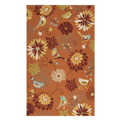 Surya - Surya Rain RAI-1104 (Orange, Moss) 9' x 12' Rug - Rain or shine, these rugs look great outdoors! These hand hooked all weather rugs are manufactured to withstand the rigors of outdoor use. You don't need to worry about ruining your rug by spilling a drink or dropping food, just hose off and it's clean! The colors and designs we specially created to add to the outdoor ambiance.