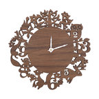 Nursery decor - Wonderfully arranged forest creatures let you know it is time to cuddle and relax. This sweet modern  clock is made of very sturdy laser cut 3ply walnut sheet, lovingly sanded and finished with natural oil.