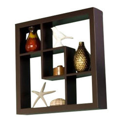 "Welland - Welland Madison Display Cube Shelf Wall Floating Shelving, Espresso - These elegant display cubes are a perfect solution for all your decor needs! This cube display shelf will provide an easy way to update any wall, whether in a traditional or contemporary setting. A cool and contemporary way to show off souvenirs, small treasures or art, this wall cube creates a dynamic arrangement in a living or dining room. 5 display compartments (Size: 16""W x 16""H x 3""D)"