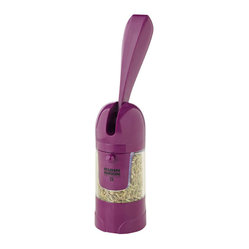 Kuhn Rikon - Kuhn Rikon  Ratchet Salt and Pepper Grinder- Purple - Has a huge output and is fun to use. Fills from the front with salt, pepper, seeds and spices. Adjusts from fine to coarse grind. High performance ceramic grinding stone Adjustable for course or fine grinding Easy to refill Ergonomic ratchet handle BPA free materials  Use and Care: For routine cleaning, simply grind some coarse salt The salt will absorb residual oils and any aftertaste For the rest of the grinder, wipe with damp cloth and let completely dry