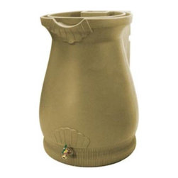 Good Ideas - Rain Wizard 65 Gallon Rain Barrel - The Rain Wizard is a thing of beauty and clever design. Constructed with thick and durable polyethylene resin which holds up to the harshest elements, the exterior has the appearance of a terra cotta urn. The graceful lines, curves, and garnishes on the exterior make it an accent peace on your home's exterior and not something that just sticks to your house. The flat back design optimizes space used and allows you to position the barrel close to walls or flat areas. The top is the only of its kind that not only acts as a planter space, but also features a unique watering system that leeches excess water from the barrel itself. There is also a channel built into the rim which diverts overflowing water to the front and away from the barrel and home foundation. You can have peace of mind that you're helping the environment by conserving water and giving your garden the best water it can get, devoid of harsh chemicals and rich in nutrients. And you can perform that conservation without sacrificing your home's outer appearance with the very stylish and functional Rain Wizard. Features: -Top functions as a planter which can leech overflow water from the rain barrel.-Meshed screen blocks debris from entering your water supply.-Flat back design sits tightly against any outside wall.-Equipped with a sturdy brass spigot which won't rust or break like plastic alternatives.-Routed channel diverts excess water to the front of the barrel to avoid flooding your foundation.-Linkable to all other Rain Wizard rain barrels.-65 Gallon capacity.-Urn shape and color add class and style to your rain harvesting.-Rain Wizard collection.-Collection: Rain Wizard.-Distressed: No.-Country of Manufacture: United States.Dimensions: -Dimensions: 36'' H x 25'' W x 26'' D.-Weight: 24 lbs.-Overall Product Weight: 24lbs.