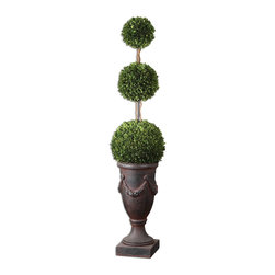 Uttermost - Uttermost Triple Topiary Preserved Boxwood 60093 - Towering on�natural dragon�willow branches in an aged black urn with rust brown wash. Preserved while freshly picked, natural evergreen foliage looks and feels like living boxwood.