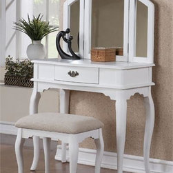 Chantal White Makeup Dressing Table w/ Bench - The Chantal white makeup table set features a warm Queen Anne style that will blend easily with your traditional bedroom decor.  The drawer below offers more storage space for make-up and hair care products.