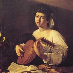 """Buyenlarge.com, Inc. - Musician Playing Lute - Framed Paper Poster 20"""" x 30"""" - Another high quality vintage art reproduction by Buyenlarge. One of many rare and wonderful images brought forward in time. I hope they bring you pleasure each and every time you look at them."""