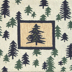 Homefires - Pine Forest Rug - Tree house: This handsome, wool lookalike, pine forest rug is the perfect welcome for the hallway entrance of your home. Best of all, it's completely washable, so neither mud, nor water, nor stains can dampen its civilizing effects.