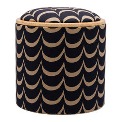 Pomada - Waves Box Ottoman - Riding the waves of style can make you a little dizzy. Aren't you glad you have something this cute to hold onto? The sturdy base is made of Teco-certified OSB, covered in a fabric featuring hand-printed wavy navy stripes. Here's something else for smooth sailing: One side of the reversible top is padded; the other is a clear lacquered board.