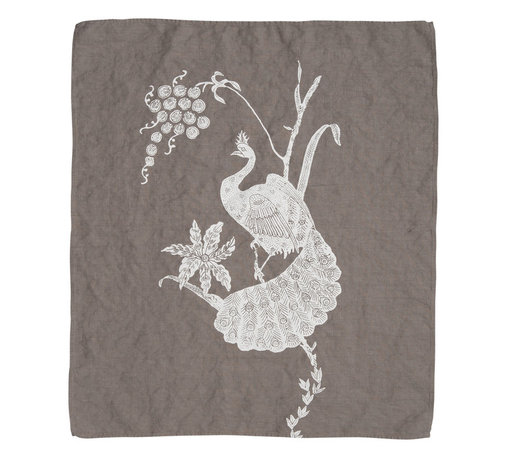 Cricket Radio - Indochine Peacock Hand Towel, Stone/White - Go ahead. Strut your stuff. This beautiful towel features a hand-printed peacock and floral on soft Italian linen in your choice of color combinations. Whether you hang it in your kitchen or bath — or use several as oversize napkins — you'll be proud to call this towel your own.