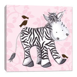 "Doodlefish - Zach Zebra - Green, Pink, Stretched Canvas - Zelda is a sweet, pretty zebra who gives her little bird friends a piggy back ride through the jungle. This artwork is an 18"" x 18"" Gallery Wrapped Giclee Print. A graphical pink background and hand painted artwork by Regina Nouvel combine to make a cool and fun piece of wall d_cor that any little girl will love."