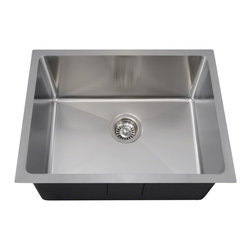 """MR Direct - MR Direct 1823 Stainless Steel Single Bowl 3/4"""" Radius Stainless Steel Sink - Comparable in design to our 90-degree stainless steel sinks, the 1823, as well as our full family of radius sinks, appears angular, but features rounded corners throughout their interiors. This aspect means a softer appearance and a further benefit of easier cleaning. Made from one piece of 18-gauge, 304 grade stainless steel; its brushed satin finish hides minor scratches that could occur over time. The overall dimensions of the 1823 are 23"""" x 17 7/8"""" x 9"""" and a 24"""" minimum cabinet size is required. The 1823 is the smaller version of our two, single-bowl 3/4'' radius style sinks. It flaunts an offset drain, insulation throughout, sound-dampening pads and, as with all our stainless steel sinks, our limited lifetime warranty. Strainers not included."""