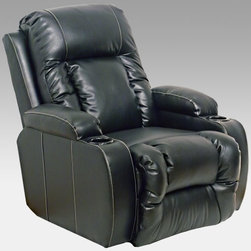 Catnapper Deluxe Leather Wall Hugger Recliner - If you're anything like us, you want to sink into the cushy seat of a recliner the moment you see it. But you might not immediately choose a traditional-style recliner for your modern living room. Luckily, the Catnapper Deluxe Top Gun Inch-away Recliner offers all the traditional comfort you crave in a recliner with a sleek transitional style that updates the chair for the modern home. The recliner is crafted with a super-durable, precision-cut plywood frame, topped with a 100 percent steel seat box that resists warping and splitting. A Direct Drive crossbar ensures both sides of the chair operate together in sequence, while each arm is attached to the seat box with bolts, not staples. Each corner joint of the hardwood seat box is double-doweled and fitted with steel brackets and metal mending plates are used in the rear of the seat back to ensure maximum strength. The chair is finished with plush, smooth bonded leather upholstery available in rich, contemporary black shade. A unitized steel rocker base resists bending or wear, and the level-controlled Omega Reclining Mechanism provides smooth, quiet, precise reclining. The tufted seat and footrest are coolly offset by smooth, seamed back and side panels that bring the chair into the 21st century. Beneath the leather are heavy, 8-gauge steel springs for strength, comfort, and flexibility. Medium-soft cushioning provides lasting support, and all stress areas are reinforced with specially formulated, dyed glue. The recliner is conveniently shipped fully assembled for immediate use. So go ahead - give into that desire to jump in. We won't blame you one bit. Additional Features Precision-cut, mortise-and-tenon construction Smooth Omega Reclining Mechanism 100 percent steel seat box Direct Drive cross bar for smooth operation Unitized steel rocker base 8-gauge sinuous steel springs Double-doweled, bracketed seat box Arms attached with bolts, not staples Metal mending plates in seat back Specially formulated, dyed glue Seat dimensions: 22.5W x 21D inches About Jackson Furniture (Catnapper creators)Started in 1932, Jackson Furniture has grown to be one of the largest family-owned living room furniture manufacturers in the world. Today, Jackson Furniture Industries has a reclining furniture brand (Catnapper) and a mid-priced living room sofa brand, Jackson Furniture. Through the years, Catnapper has pioneered the development and manufacturing of many industry firsts: first recliner with a metal mechanism, motion upholstery, reclining sectionals, X-tra Comfort, and the Polaris System - an All Steel reclining system - built to last. Still family-owned and -operated, Catnapper continues to lead the industry in comfort and value with its recliners and sectionals.