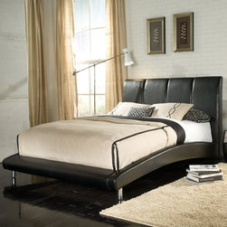 "Standard Furniture - Moderno Platform Bed - Features: -Moderno collection. -Black color. -Vinyl construction. -Low profile footboard with an angled and padded top surface for a quick spot to sit. -Supported by sturdy tubular metal legs in a bright nickel color. -Mid-height headboard has a squared off profile with a well cushioned back for comfort, plus channel tufting in vertical panels for a plush look.. -Side rails make a thoroughly modern statement with their arched sweeping lines between the head and footboards. Specifications: -Queen dimensions: 47"" H x 7"" W x 68"" D. -King dimensions: 47"" H x 7"" W x 85"" D."