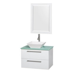 """Wyndham Collection(R) - Amare 30"""" Wall-Mounted Bathroom Vanity Set with Vessel Sink by Wyndham Collectio - The Wyndham Collection is an entirely unique and innovative bath line. Sure to inspire imitators, the original Wyndham Collection sets new standards for design and construction. The Amare wall-mounted vanity family delivers beautiful wood grain exteriors offset by modern brushed chrome door pulls. Each vanity provides a full complement of storage areas behind sturdy soft-close doors and drawers. This versatile vanity family is available with distinctive vessel sinks or sleek integrated counter and sinks to fulfill your design dreams. A wall-mounted vanity leaves space in your bathroom for you to relax. The simple clean lines of the Amare wall-mounted vanity family are no-fuss and all style. Amare Bathroom Vanities are available in multiple sizes and finishes FeaturesConstructed of the highest grade MDF, engineered for durability to prevent warping and last a lifetime 8-stage preparation, painting and finishing processHighly water-resistant low V.O.C. sealed finishUnique and striking contemporary designModern Wall-Mount DesignMinimal assembly requiredDeep Doweled DrawersFully-extending soft-close drawer slides Counter options include Green Glass, White Man-Made Stone.Backsplash not availableAvailable with Porcelain, Granite, and Marble vessel sink(s) Square Sink Single-hole faucet mountFaucet(s) not includedMirror includedMetal exterior hardware with brushed chrome finishTwo (2) functional drawersPlenty of storage spacePerfect for small bathrooms and powder roomsIncludes drain assemblies and P-traps for easy assembly How to handle your counter Spec Sheet for Vanity Installation Guide for Vanity Spec Sheet for Mirror Installation Guide for Mirror Spec Sheet for Amare Rotating Wall Cabinet with Mirror (WC-RYV202) Spec Sheet for Amare Bathroom Wall Cabinet (WC-RYV205) Installation Guide for Amare Bathroom Wall Cabinet (WC-RYV205) Spec Sheet for Amare Bathroom Wall """