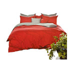 Silver Fern Decor - Modern Red & Gray Duvet Cover Set, King - Features)