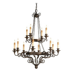 "Currey and Company - Galleon Chandelier - A good mid-sized chandelier with a pleasing height, Galleon?s two tiers of wrought iron detailing are joined by chain. Wooden candle cups add to the interest. Our classic ""Hand Rubbed Bronze? finish compliments the skilled blacksmith?s work."