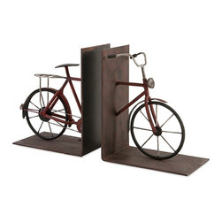 """Imax - Rustic Retro Bicycle Bookends - Set Of 2 - *Dimensions: 8""""h x 4""""w x 6.5"""""""