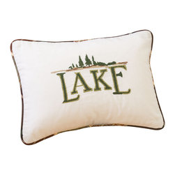 Taylor Linens - Lake Pillow - Whether you dream of Saranac, Tahoe, Havasu, Big Bear, Pontchartrain or Okeechobee, you'll be nothing but Placid with this pillow on your sofa, bed or bench. Beautifully hand-embroidered on 100 percent cotton, it's filled with white goose feather and down and edged with contrasting piping.