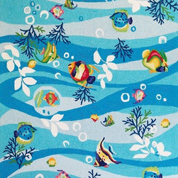 """Kas - Tropical Fish Blue Sonesta Novelty 2' x 7'6"""" Runner Kas Rug  by RugLots - Join us in the fun as you coast through our Sonesta Collection. Hand-hooked in China of 100% polyester, these rugs will add pizzazz to any room throughout your home. Some are fun, some are flirty"""
