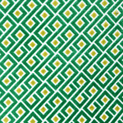 Plush Geometric 3 Upholstery Fabric, Emerald - This plush geometric features a diamond motif in emerald green and is suitable for upholstery, cornice/headboards, and other decorative uses.
