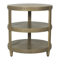 Worlds Away - NoraLimed Oak Studded side table - 3-tier limed oak nickel studded side table.