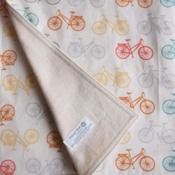 Organic Baby Blanket, Bike It by Organic Quilt Company - If you are planning for a hipster baby, look no further than this organic bicycle blanket for your snuggle sessions. I really love the gender-neutral colors and fun yet not babyish motif.