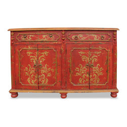 Mocha Royal Buffet, Distressed Red Baroque with Gold Scrolls - Mocha Royal Buffet, Distressed Red Baroque with Gold Scrolls