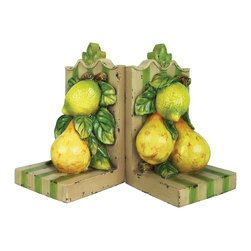 Sterling Industries - Sterling Industries Le Jardin Bookends X-5270-39 - From the Le Jardin Collection, this Sterling Industries set of bookends features charming stripes done in shades of green and cream. On the face of each bookend is a bundle of leaves, pears and an unripe lemon. Distressing adds a vintage flair to the set.