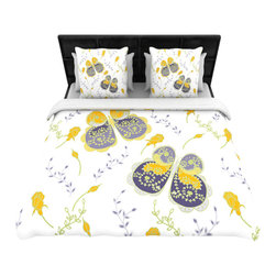 """Kess InHouse - Anneline Sophia """"Leafy Butterflies"""" Yellow/Purple Cotton Duvet Cover - Rest in comfort among this artistically inclined cotton blend duvet cover. This duvet cover is as light as a feather! You will be sure to be the envy of all of your guests with this aesthetically pleasing duvet. We highly recommend washing this as many times as you like as this material will not fade or lose comfort. Cotton blended, this duvet cover is not only beautiful and artistic but can be used year round with a duvet insert! Add our cotton shams to make your bed complete and looking stylish and artistic!"""