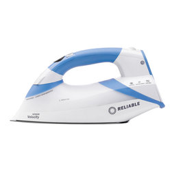 Reliable - Reliable V200 Sensor Velocity Compact Steam Iron - Turn the chore of ironing into a quick and easy task with this compact steam iron. It has an easy-to-reach steam release button,a lightweight soleplate so it's easy to use,and a 360-degree swivel cord so you can iron without tangling the wire.